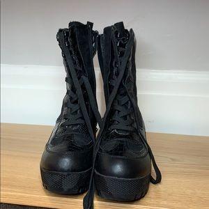 Platform combat boots snakeskin